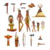 Native American Indians And Traditional Clothes Set, Weapons And Cultural Symbols Vector Illustratio poster