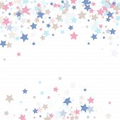 Multicolored Falling Stars Of Confetti. Luxurious Background In Calm Tones.rose, Light Blue, Light B poster