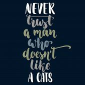 Never Trust A Man Who Doesnt Like A Cats - Hand Drawn Lettering Phrase For Animal Lovers On The Dar poster