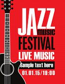Vector Banner For Jazz Festival Of Live Music With Acoustic Guitar In Retro Style On Red Background poster