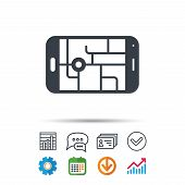 Gps Street Navigation Icon. Smartphone Device Symbol. Pokemon Egg Concept. Statistics Chart, Chat Sp poster