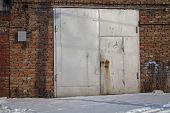 Old Metal Garage Door. Garage Door. Metal Door. poster