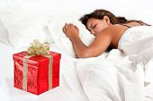Surprise Present Waiting For Woman To Wake-up