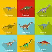 Little Dinosaur Icons Set. Flat Set Of 9 Little Dinosaur Vector Icons For Web Isolated On White Back poster