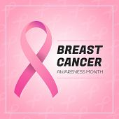 Vector Breast Cancer Awareness Symbol. Stroke Pink Ribbon Background. October Is Cancer Awareness Mo poster