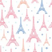 Vector Pink Blue Eifel Tower Paris And Flowers Seamless Repeat Pattern Surrounded By Stars. Perfect  poster