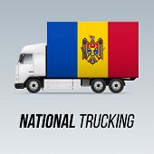 Symbol Of National Delivery Truck With Flag Of Moldova. National Trucking Icon And Moldovan Flag poster