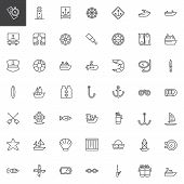 Nautical Outline Icons Set. Linear Style Symbols Collection, Line Signs Pack. Vector Graphics. Set I poster