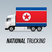 Symbol Of National Delivery Truck With Flag Of North Korea. National Trucking Icon And North Korean  poster
