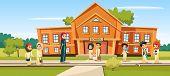 Muslim School Vector Illustration Cartoon Children And Teacher Going To School. Woman Teacher And Pu poster