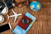 Passport Travel Document Photo Camera Sunglasses Globe Map, Top View. Summer Vacation, Travel, Touri poster