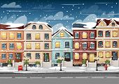 Snow-covered Street With Colorful Houses Fire Hydrant Lights Bench Red Mailbox And Bushes In Vases C poster