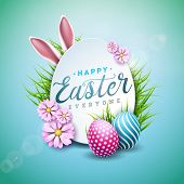 Vector Illustration Of Happy Easter Holiday With Painted Egg, Rabbit Ears And Flower On Shiny Blue B poster