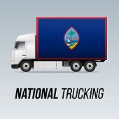 Symbol Of National Delivery Truck With Flag Of Guam. National Trucking Icon And Flag Design poster