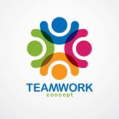 Teamwork And Friendship Concept Created With Simple Geometric Elements As A People Crew. Vector Icon poster