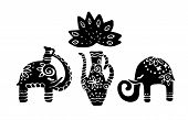Indian Elephant. Hand Drawn Doodle Indian Elephant With Tribal Ornament. Vector Ethnic Elephant. poster