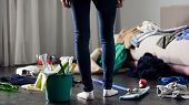 Woman Horrified By Mess Left After Party In Her Apartment, Cleaning Service, Stock Footage poster