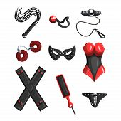 Fetish Stuff For Role Playing And Bdsm Sett Of Vector Illustrations Isolated On A White Background. poster