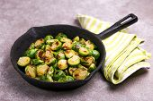 Vegetarian Cuisine. Brussels Sprouts Roasted With Olive Oil. Copyspace poster