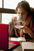 Beautiful Businesswoman Enjoying In A Cup Of Coffee (coffee Breaks, Coffee Time, Break, Rest Concept poster