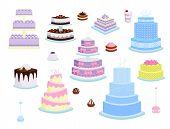 Wedding Cake Pie Sweets Dessert Bakery Flat Simple Style Vector Illustration.. Fresh Tasty Dessert S poster