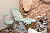 Chairs In A Pedicure Beauty Salon. Interior Of Empty Modern Nail Salon. Work Places For Masters Of M poster