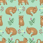 Cute Spotted Leopard Kittens Seamless Pattern, Cartoon Drawn Funny Animals, Wild Cat Kitten, With Ab poster