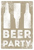 Beer Party Typographical Vintage Style Grunge Poster Design With Letterpress Effect. Retro Vector Il poster