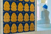 George Town Malaysia. March 8 2019. Buddhas On Tiles Walls In Kek Lok Si Temple In George Town Malay poster