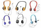 Headphones For Listening To Music, Headphone Vector Set, On-ear Headphones, Multi-colored Headphones poster
