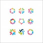 Vector Logo Icons Of People Together - Sign Of Unity, Partnership, Leadership, Community, Engagement poster