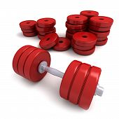 Red Dumbbells And Heap Of Weights