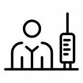 Immunization Syringe Icon. Outline Immunization Syringe Vector Icon For Web Design Isolated On White poster