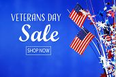 Veterans Day Sale Message With Flag Of The United States poster