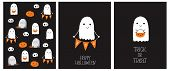 Cute Hand Drawn Halloween Cards And Pattern. Little White Ghost On A Black Background. Happy Hallowe poster