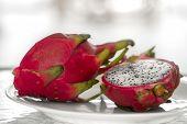 Dragon Fruit. Vibrant Dragon Fruit On White Background. Sliced White Dragon Fruit Or Pitaya On White poster