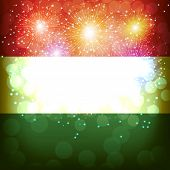 Bright Firework With Flag Of Hungary. Happy Hungary Day Flag Background. Illustration. poster
