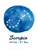 Scorpio Constellation Icon Of Zodiac Sign Scorpio In Cosmic Stars Space. Blue Starry Night Sky Insid poster