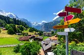 View Of The Traditional Mountainous Swiss Village Wengen. Switzerland. poster