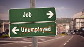 Street Sign The Direction Way To Job Versus Unemployed poster