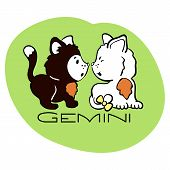 Gemini Astrological Zodiac Sign With Cute Cat Character. Cat Zodiac Icon. Kitten Gemini Sticker. Bab poster