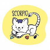 Scorpio Astrological Zodiac Sign With Cute Cat Character. Cat Zodiac Icon. Kitten Scorpio Sticker. B poster