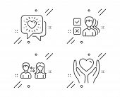 People Communication, Opinion And Friends Chat Line Icons Set. Hold Heart Sign. People Talking, Choo poster