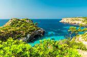 Majorca Beautiful Seascape Bay At The Coast Of Calo Des Moro, Mallorca Mediterranean Sea, Balearic I poster