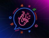 Jazz Line Icon. Neon Laser Lights. Saxophone Musical Instrument Sign. Music Symbol. Glow Laser Speec poster