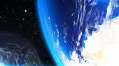 Computer Generation Futuristic Composition Planet Earth In Outer Space. Close-up Celestial Bodies Ag poster