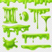 Realistic Green Slime. Slimy Toxic Blots, Goo Splashes And Mucus Smudges. Halloween Liquid Decoratio poster