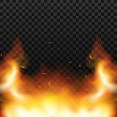 Red Fire Sparks Vector Flying Up. Burning Glowing Particles. Flame Of Fire With Sparks In The Air Ov poster
