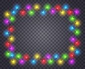 Frame With Light Garland. Christmas Photo Image Border With Color Glowing Light Bulbs. Isolated Vect poster