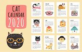 Cat Calendar. 2020 Monthly Planner With Cute Cartoon Cats. Funny Kittens Design Vector Calendar Temp poster